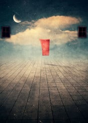 door floating window moon stars surreal dreamy floor clouds grundge texture