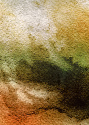 watercolor painting abstract tangerine orange green gold black bold yellow colourful piaschneider modern