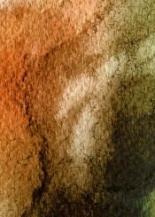 watercolor painting abstract bold tangerine green black orange modern piaschneider paper structures modernart