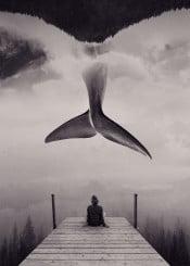 girl whale nature landscape surreal