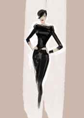 fashion fashionart fashionpainting style chic beauty blackdress minimal fashionsketch