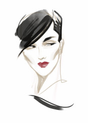 fashion fashionportrait portrait minimalfashion watercolor aquarelle fashionart retro