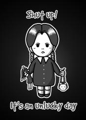addams family wednesday kawaii doll lovely unluck unlucky sad halloween funny movie girl horror shut up