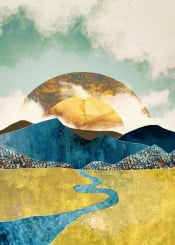 travel mountains abstract sun moon hills sky clouds