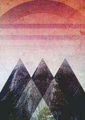 abstract digital landscape illustration design mountains