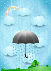 umbrella rain surreal fantasy imagination fairy tale dream dreamy suggestive cloud sky cloudscape day landscape outdoor weather meadow land tree illustration drop water rainbow