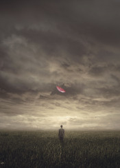 boy lonely umbrella pink field emotional clouds sky gloomy moody light