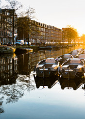 boats reflection architecture canal amsterdam city dutch