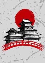 japan temple bridge anime manga sun ink