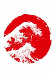 japan japanese sun red white flag wave ocean
