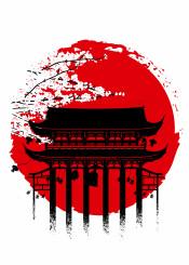 japan japanese sun moon temple cherry kanji anime manga