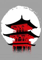 japan temple sun ink anime manga samurai ninja japanese kanji