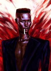 jones grace model fashion style actress movie music red black colour splash strong power woman icon