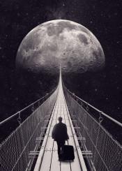 moon space travel stars man surreal