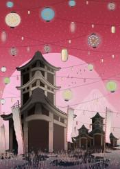 japan mount fuji lanterns oriental pink pastel town dream lights sunset night stars fantasy magical life place remember illustration kids cartoon children comic moon grass fireflies birds freedom