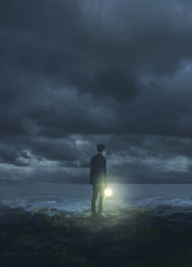 dark night time beach ocean clouds sky waves rocks coast lantern young man nostalgic dream dreaming life traveling tidehunt