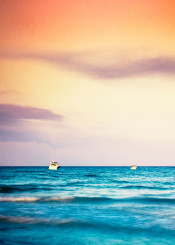 seascape pastel orange blue boats longexposure mediterranean sunset minimalism summer waves