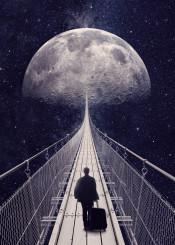 moon stars space travel man surreal