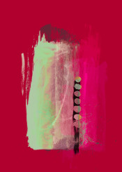 abstract painting acrylicpainting acrylic red pink green colorful bold brushstroke strokes modernart piaschneider ateliercolourvision modern wallart
