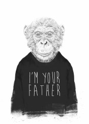 chimpanzee monkey ape drawing humor funny blackandwhite typography father