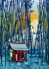 japan fuji oriental mount sunset bamboo forest homedecor kids children cats fox kitsune sun blue orange temple irune god japanese folklore culture tradition lantern