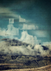 mountain clouds surreal manipulation blur geometry graphic birds abstraction