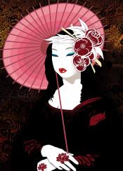 geisha asian japanese monnalisa gioconda vector illustrator illustration digitalart female obsession girl lady portrait