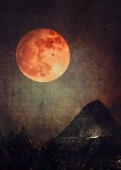 moon bloodmoon mountains dark texture night surreal birds composing photomanipulation