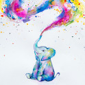 Baby elephant watercolor painting