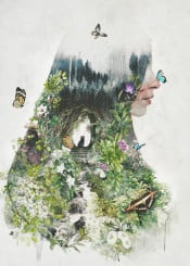 butterfly butterflies woman surreal surrealism nature garden cat river flowers plants flower spring summer green fantasy magic beauty beautiful painting portrait dream mother insect cats trees love