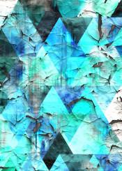 triangle geometric aqua blue aged dirty