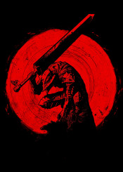 red sun blade armor armour crimson ink inking japan japanese china manga anime beserk guts gut sword slayer slay kill blood c cool minimal fanfreak sumi strong