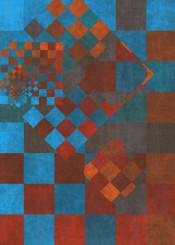 square cube rust blue geometric