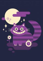 cheshire cat alice wonderland movie book flat design vector cute kids illustration