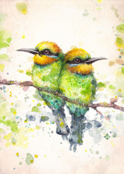 bird rainbow bee eaters birds family cute tree green electric watercolor painting