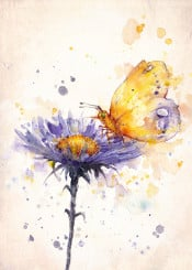 butterfly flower cornflower energy life purple blue yellow wings paitning watercolor whimsical nature