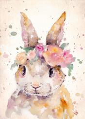 bunny rabbit watercolor painting cute flowers crown nursery darling sillier than sally pink wildlife charming sweet