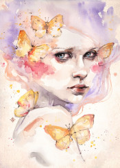ethereal lady woman girl beautiful butterflies butterfly haunting purple portrait eyes dramatic face
