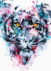 tiger wildanimals wildcats colors blue red homedecor wallart rizapeker