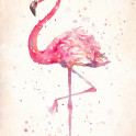 """A Flamingoes Fancy""  Water Colour Art"