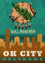 oklahoma city okc skyline flag