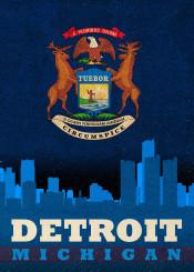 detroit michigan state flag city skyline
