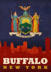 buffalo newyork nyc state flag city skyline
