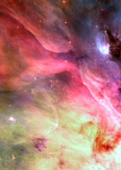 painting watercolor digital space galaxy universe nebula stars colorful pink coral