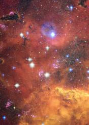 painting watercolor digital space universe galaxy stars nebula orange brown yellow