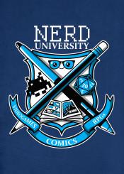 nerd university comics board game videogame gamer comicon aliens dice college academy geek rpg rpgs