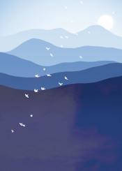 mountain phantasy blue sun bird abstract crazy