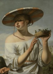 classical painting oil woman hat