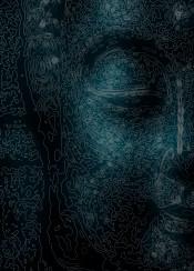 buddha buddhism religion monochrom face head