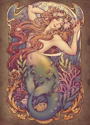little mermaid andersen medusa dollmaker fishtail sea nouveau seaweed ocean fantasy tale water lilies